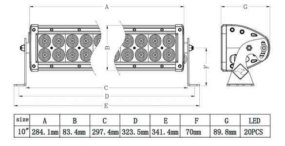 10 Inch Dual Row LED Bar Dimensions