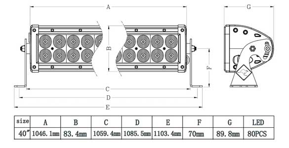 40 Inch Dual Row LED Bar Dimensions