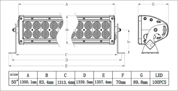 50 Inch Dual Row LED Bar Dimensions
