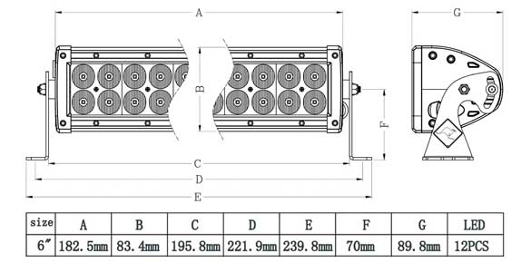 6 Inch Dual Row LED Bar Dimensions