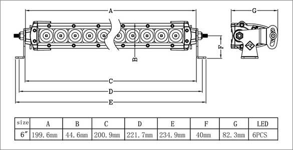 6 Inch Single Row LED Bar Dimensions